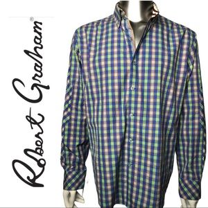 EUC Robert. Graham Checker / Plaid Dress Shirt XL